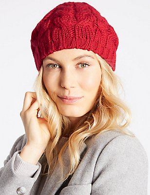Cable Knit Beret Hat, RED, catlanding