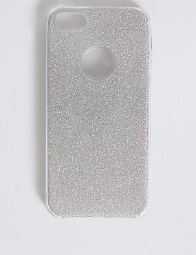 iPhone 5/5s Glitter Phone Case, SILVER, catlanding