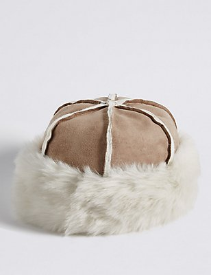Faux Fur Shearling Winter Hat, NATURAL, catlanding