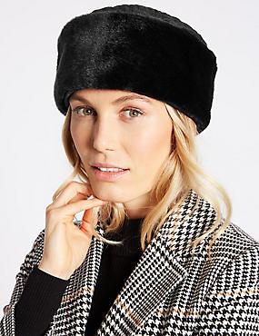 Quilted Fur Hat, BLACK, catlanding