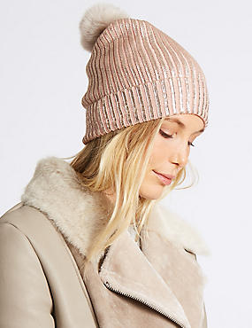 Foil Knit Pom Winter Hat, BLUSH, catlanding