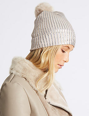 Foil Knit Pom Winter Hat, SILVER, catlanding