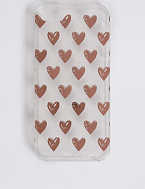 iPhone 5/5S Heart Print Phone Case, GOLD, catlanding