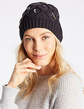 Jeweled Beanie Hat, NAVY MIX, catlanding