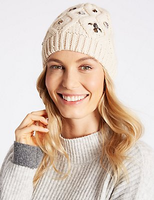 Jeweled Beanie Hat, CREAM, catlanding