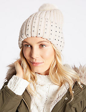 Cable Knit Pom Hat, CREAM, catlanding