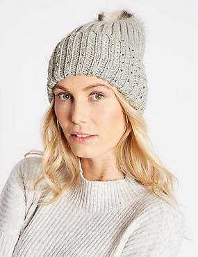 Cable Knit Pom Hat, SILVER GREY, catlanding