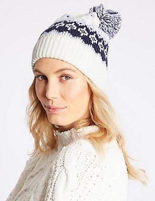 Fairisle Pom Hat, CREAM MIX, catlanding