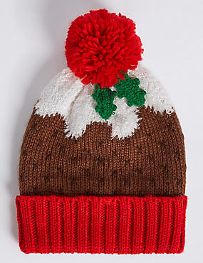Christmas Pudding Hat, BROWN MIX, catlanding