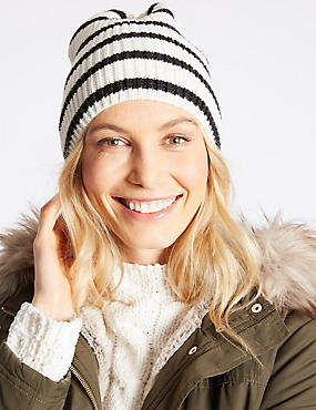 Striped Beanie Hat, CREAM MIX, catlanding