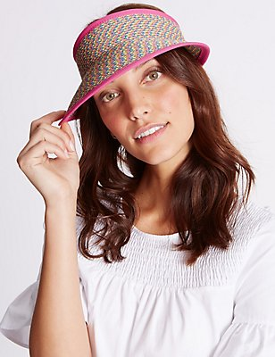 Marl Weave Visor Summer Hat, PINK MIX, catlanding