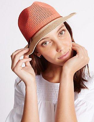 Colour Block Trilby Hat, CORAL MIX, catlanding