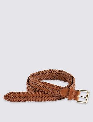 Leather Square Buckle Chevron Weave Belt, TAN, catlanding
