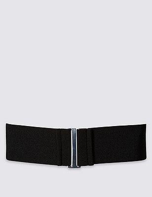 Brede elastische riem met gesp, ZWART, catlanding