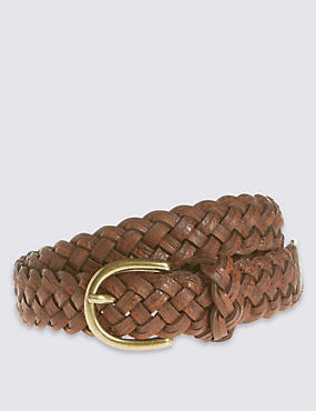 Faux Leather Woven Plaint Belt, TAN, catlanding