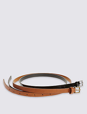 2 Pack Faux Leather Square Buckle Skinny Hip Belts, BLACK/BROWN, catlanding