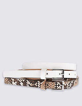 2 Pack Leather Square Buckle Skinny Hip Belts, WHITE MIX, catlanding