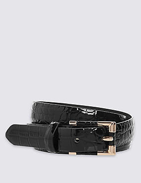 Faux Leather Inlay Hip Belt , BLACK, catlanding