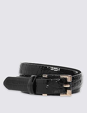 Faux Leather Inlay Hip Belt , BLACK, catlanding