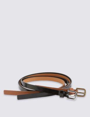 Комплект из 2 узких ремней с квадратной пряжкой M&S Collection T014579B
