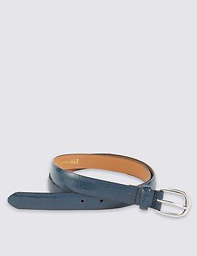 Faux Snakeskin Design Belt, NAVY, catlanding