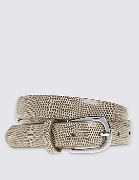 Faux Snakeskin Design Belt, NEUTRAL, catlanding