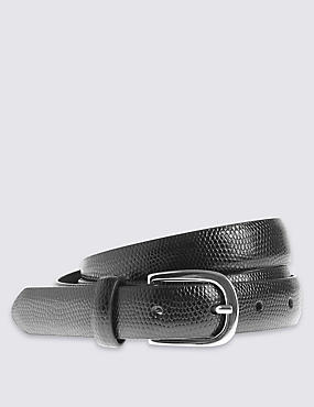 Faux Snakeskin Design Belt, BLACK, catlanding