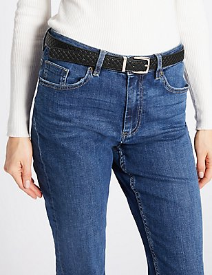Faux Leather Hip Belt, BLACK, catlanding