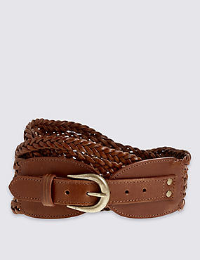 Leather Weave Waist Belt, DARK TAN, catlanding
