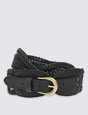 Leather Weave Waist Belt, BLACK, catlanding