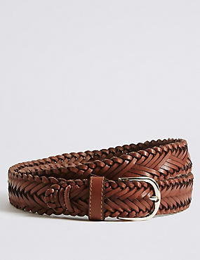 Leather Square Buckle Hip Belt, TAN, catlanding