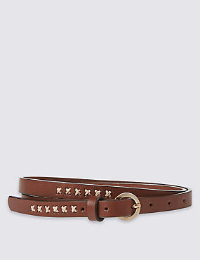 Leather Buckle Hip Belt, TAN, catlanding