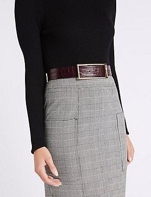 Faux Leather Buckle Waist Belt, BURGUNDY, catlanding