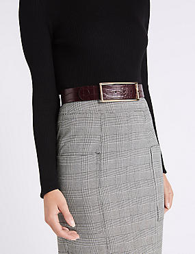 Faux Leather Buckle Waist Belt, BURGUNDY, catlanding