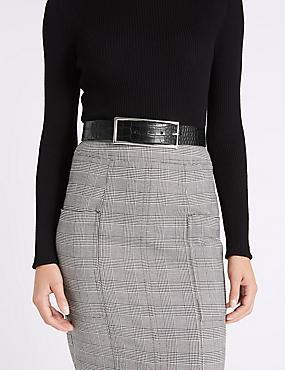 Faux Leather Buckle Waist Belt, BLACK MIX, catlanding