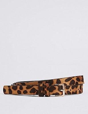 Faux Leather Leopard Buckle Hip Belt , BROWN MIX, catlanding