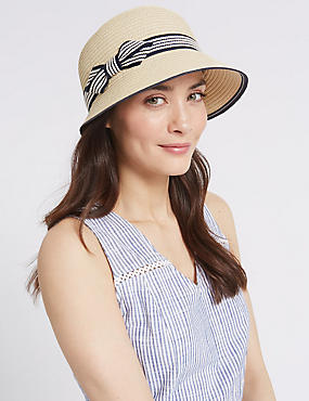 Bow Cloche Summer Hat, NATURAL MIX, catlanding