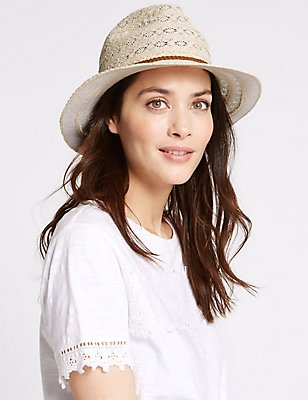 Crochet Braid Trilby Summer Hat, CREAM MIX, catlanding