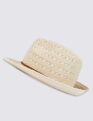 Летняя вязаная шляпа трилби от Marks & Spencer