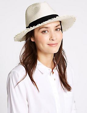 Chapeau été fedora à bordure effilochée et bande, CRÈME ASSORTI, catlanding