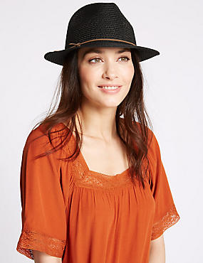Trilby Summer Hat, BLACK, catlanding