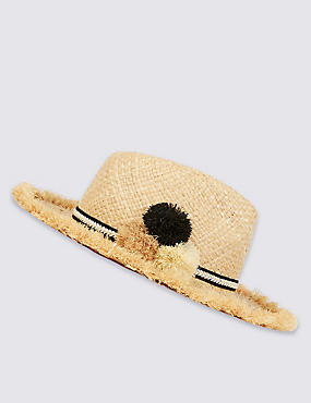 Pom-Pom Fedora Hat, NATURAL MIX, catlanding