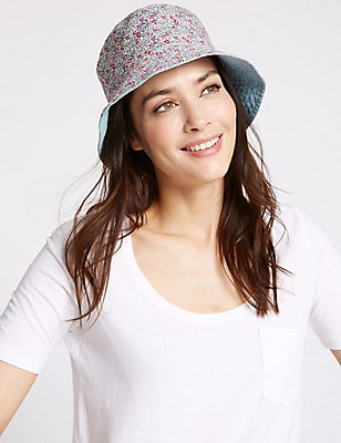 Pure Cotton Reversible Floral Trim Hat, BLUE MIX, catlanding