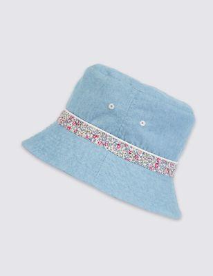 Шляпа летняя из чистого хлопка с цветочной лентой от Marks & Spencer