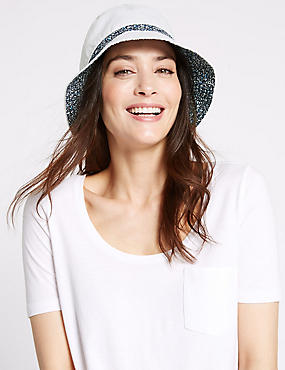 Pure Cotton Reversible Floral Trim Hat, WHITE, catlanding