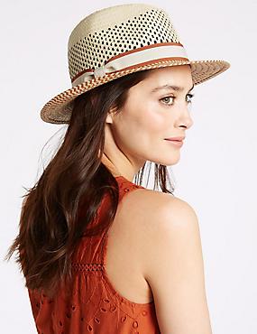 Zigzag Weave Summer Hat, NATURAL MIX, catlanding