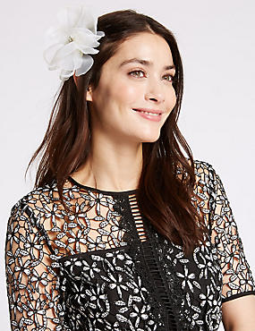 Kopfschmuck mit Blumenclip, CREME, catlanding