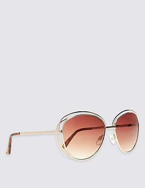 Double Frame Oversized Sunglasses, GOLD, catlanding