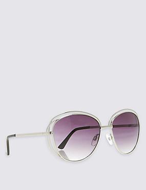 Double Frame Oversized Sunglasses, SILVER, catlanding