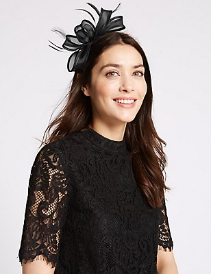 Seamed Fascinator, BLACK, catlanding